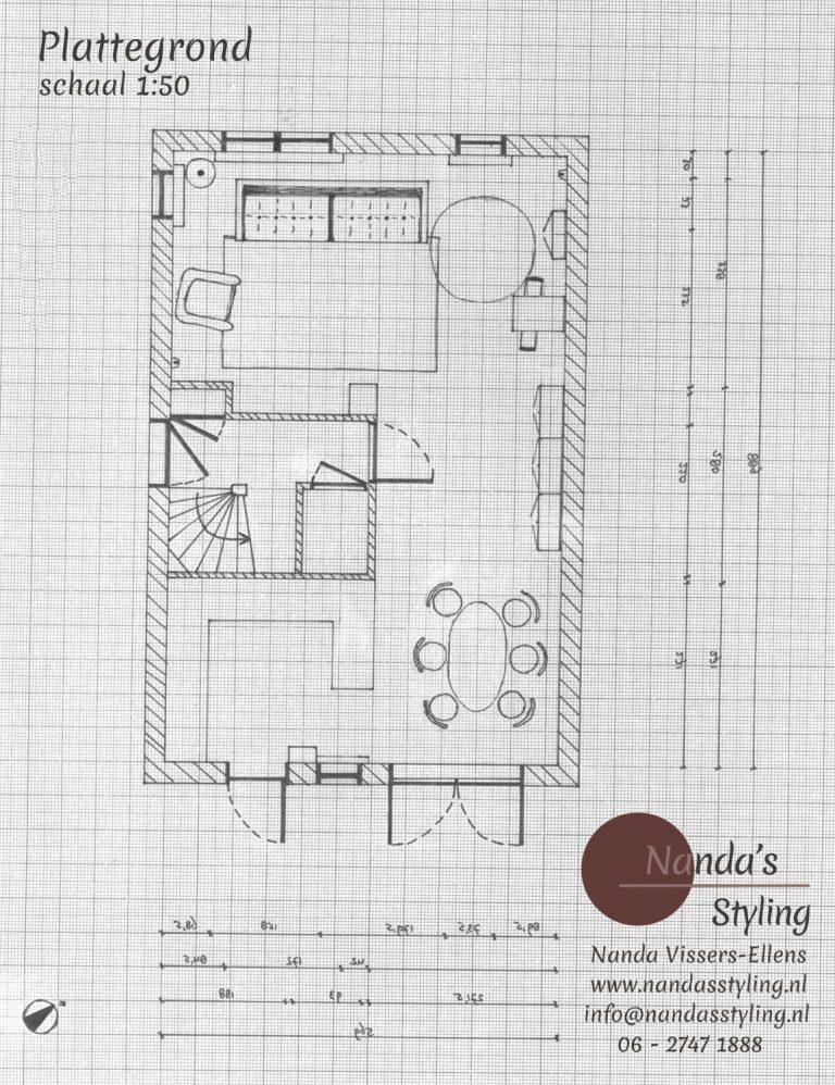interieurplan woning plattegrond nanda's styling