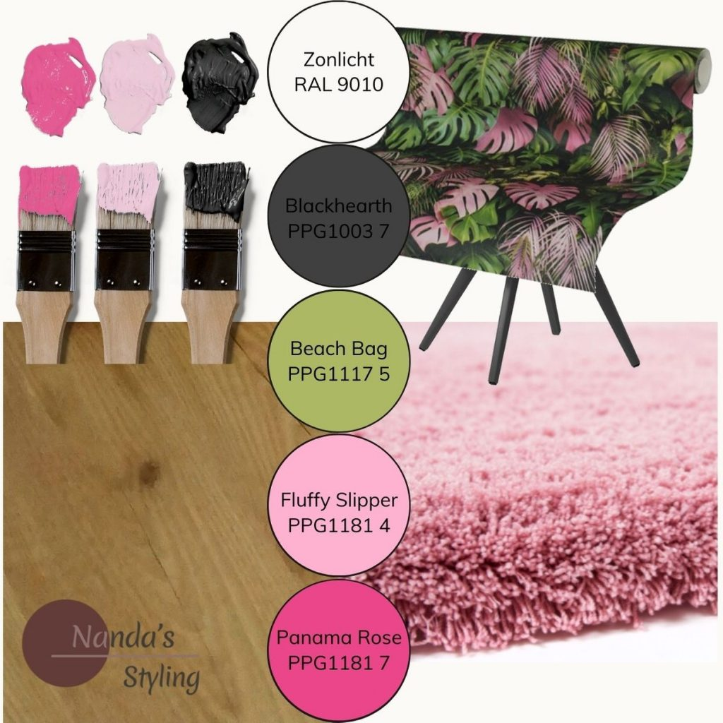 moodboard kleuradvies kinderkamer pink jungle web