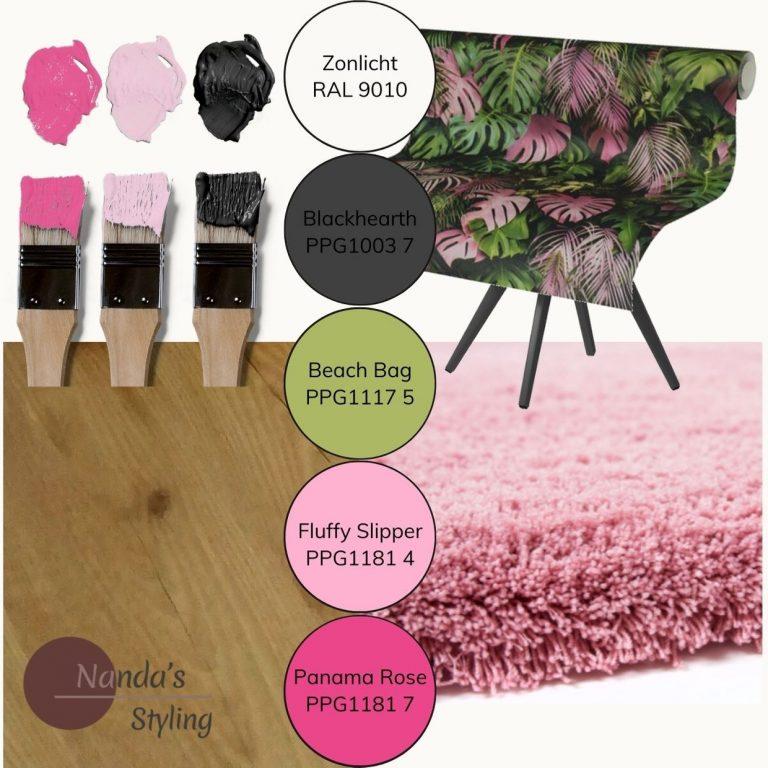 moodboard kleuradvies kinderkamer pink jungle -web-