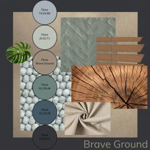 moodboard kleuradvies en materialen met brave ground flexa kleur van het jaar —-