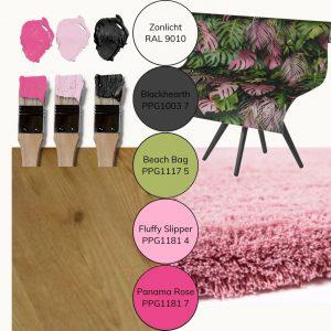 moodboard kleuradvies en materialenadvies kinderkamer pink jungle