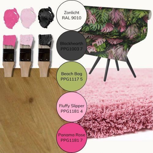 moodboard kleuradvies en materialenadvies kinderkamer pink jungle web