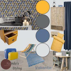 moodboard meubelplan interieurplan kinderkamerstyling jongenskamer thema vakantie kleuradvies en interieuradvies