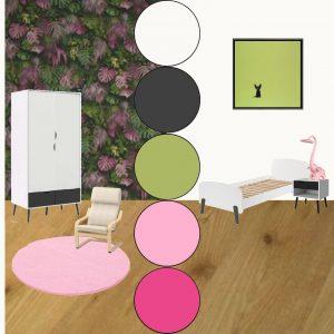 moodboard meubelplan kinderkamer pink jungle web