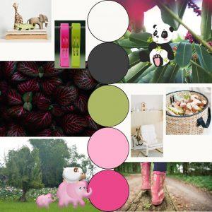 moodboard stijl en sfeer kinderkamer pink jungle web